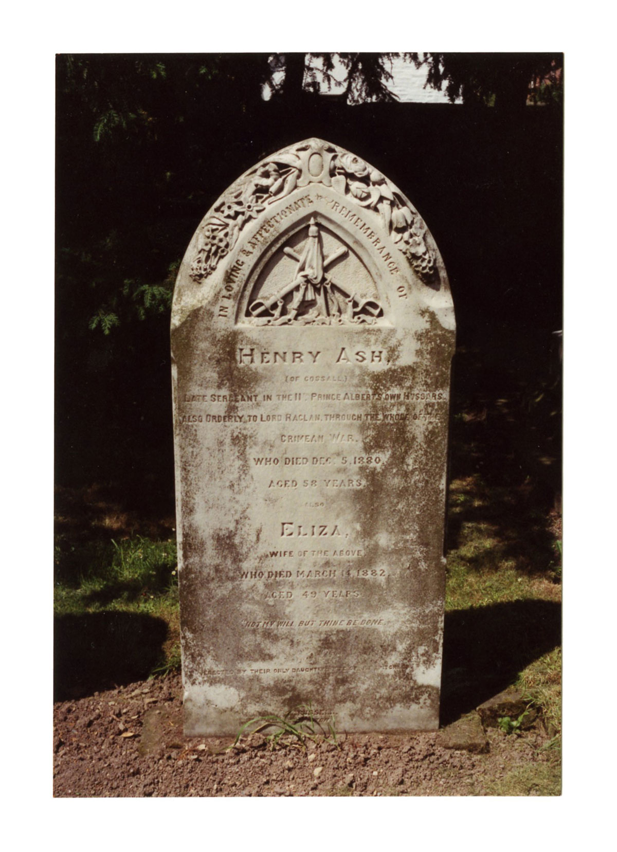 Photograph of Henry Ash's headstone in St. Catherine's churchyard, Cossall, near Ilkeston.