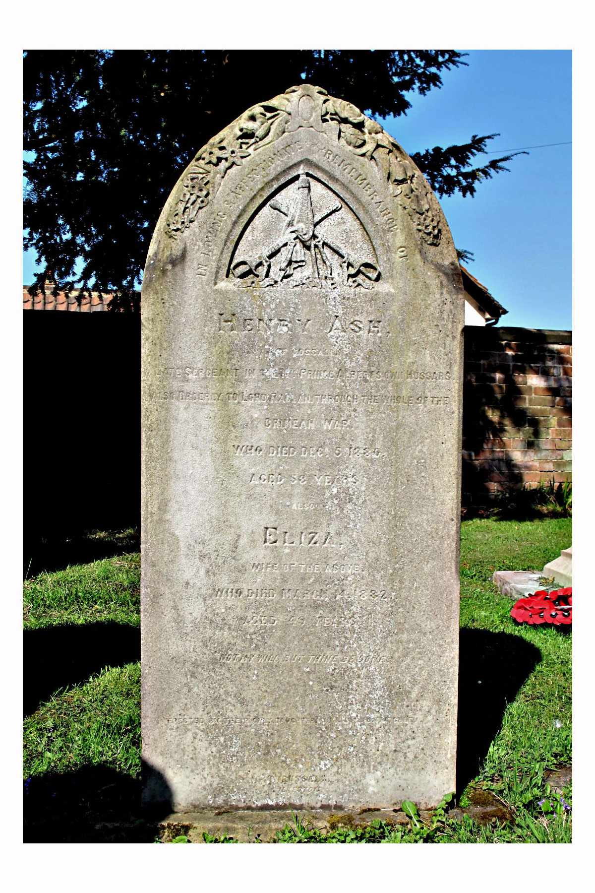 Photograph of Henry Ash's headstone in St. Catherine's churchyard, Cossall, near Ilkeston. Click to enlarge.