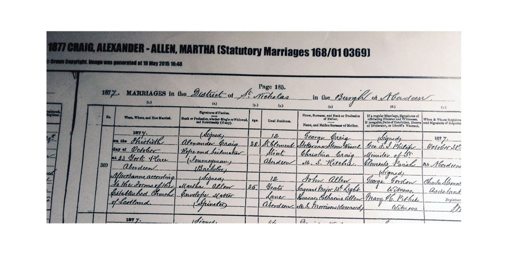 Marriage registration, Martha Allen, daughter of John Allen, 13th Light Dragoons, 1877. Click to enlarge.