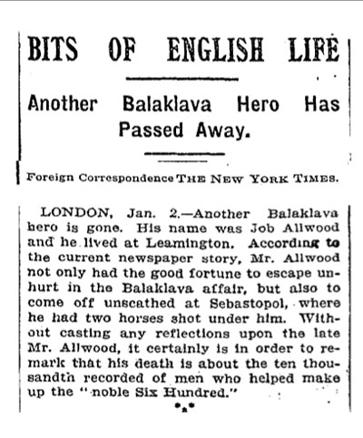 Allwood's death noted in New York Times