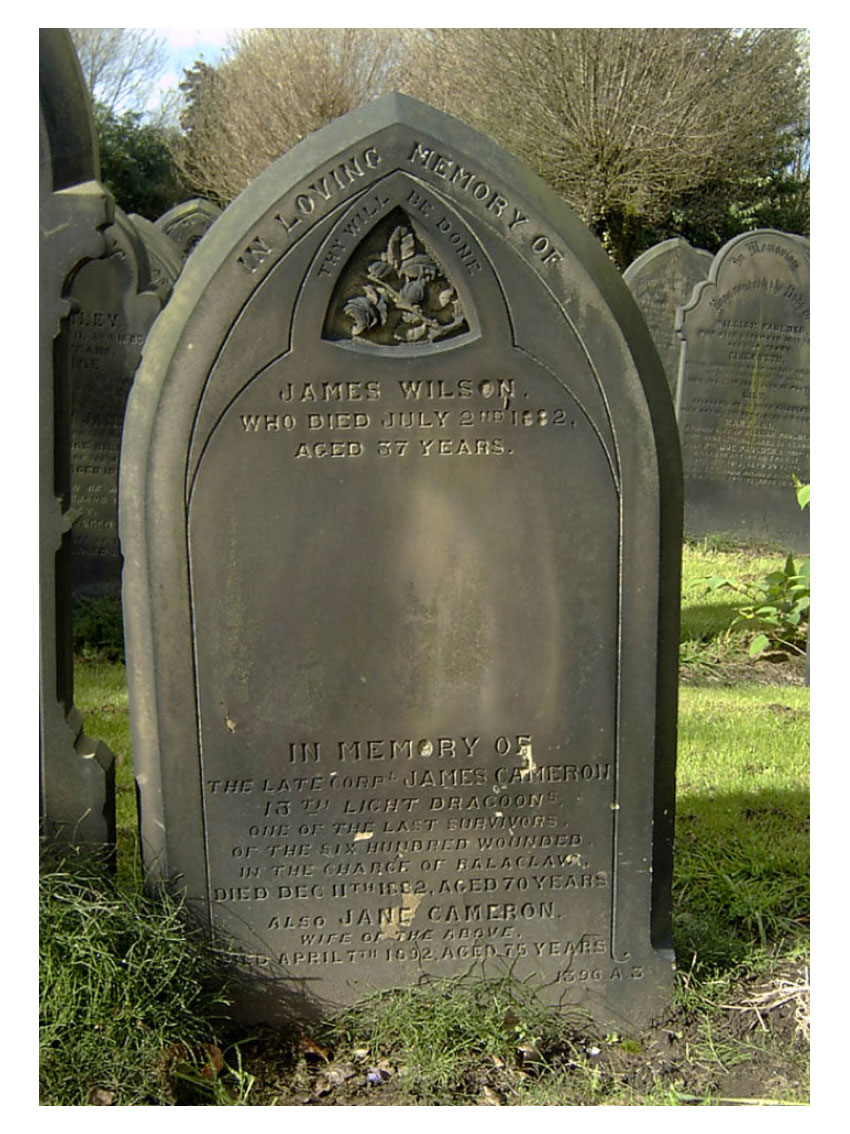 James Cameron's headstone in Weaste Cemetery, Salford.Click to enlarge.