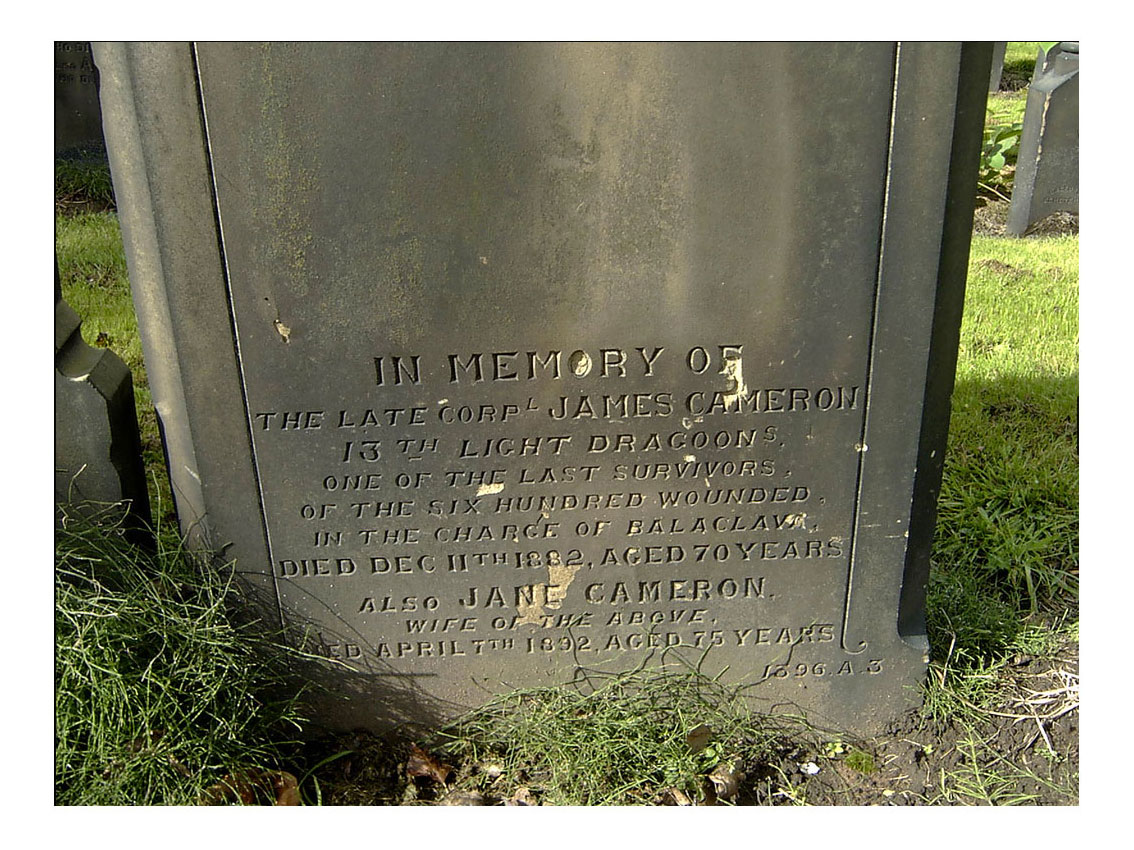 James Cameron's headstone in Weaste Cemetery, Salford. Click to enlarge.
