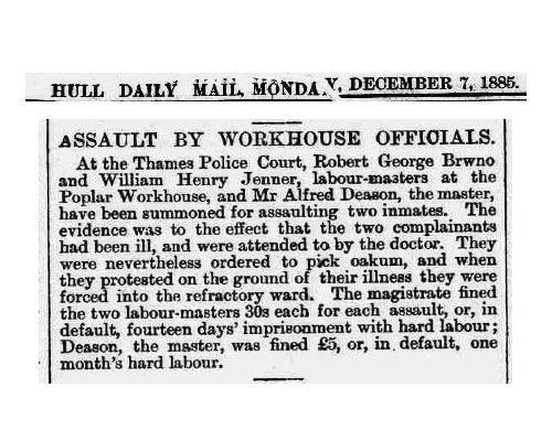 In 1886, Alfred Deason was fined £5 for an assault on two sick inmates. Click to enlarge.
