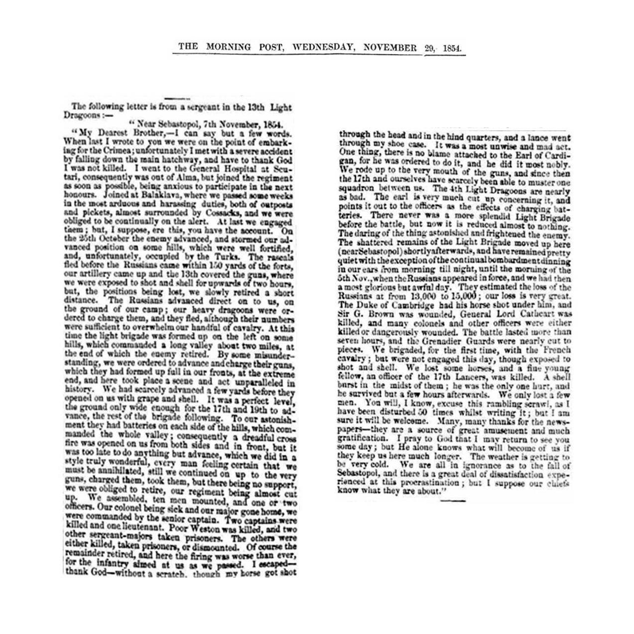 Thomas Johnson's letter from the Crimea published in<i>The Morning Post</i>, 29th November 1854. Click to enlarge.