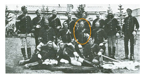 Sergeant-Major Joseph Francis [Lane], circled, with a group of NCOs, Fort Walsh 1879. Click to enlarge.