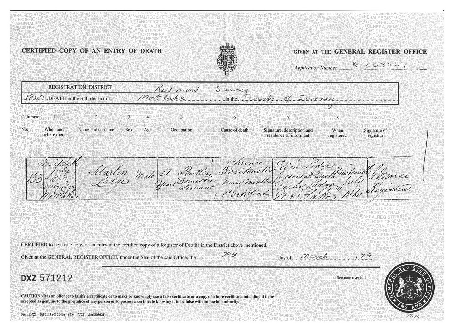 Martin Lodge, copy of death certificate, 1860. Click to enlarge.