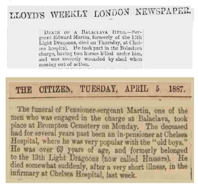 Two newspaper notices reporting Edward Martin's death in 1887.