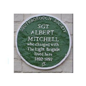 Green Plaque on the wall of Albert Mitchell's home in Taylor Street, Southborough. Click to enlarge.