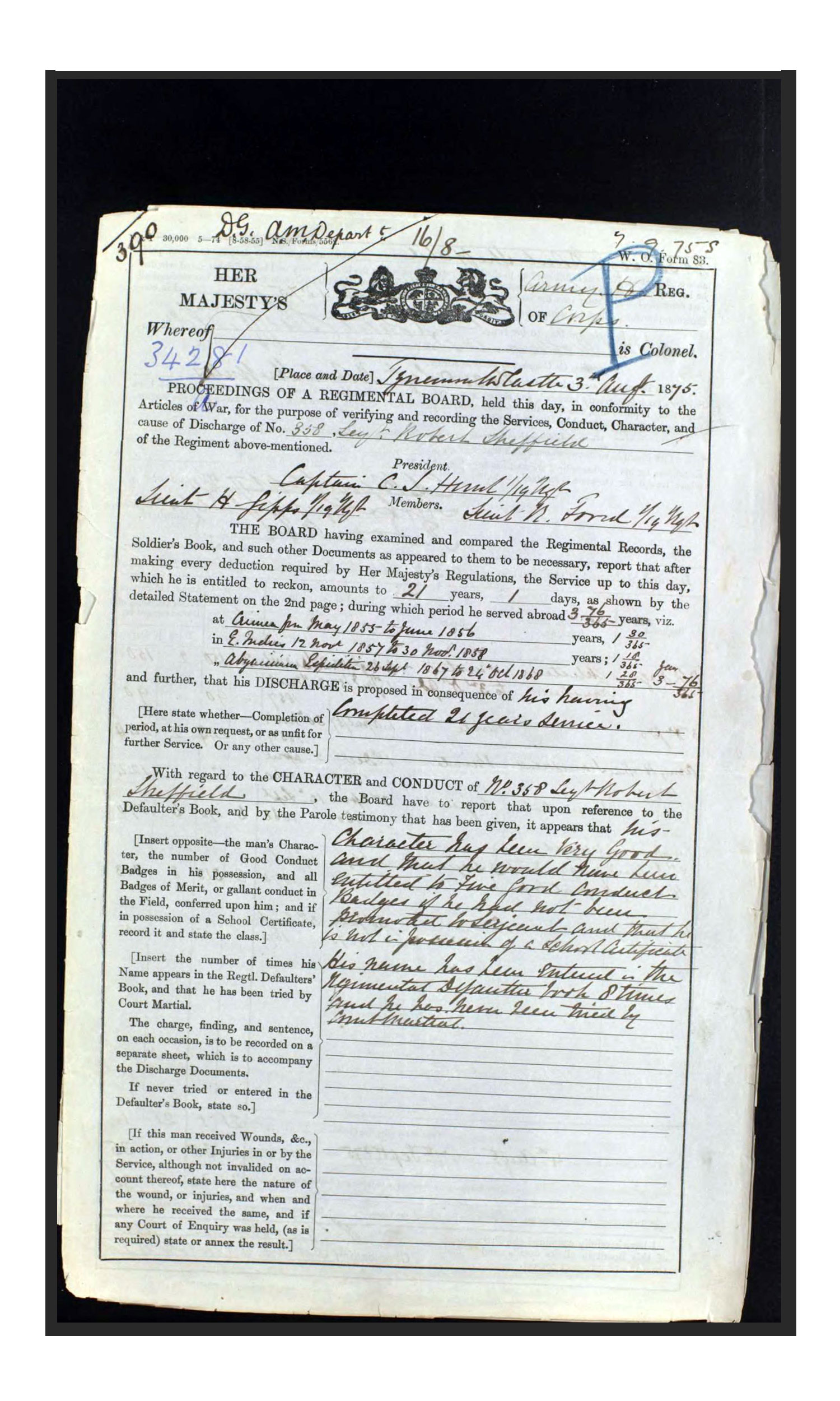Robert Sheffield's discharge papers, 1876.
