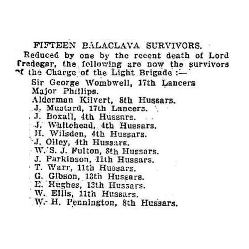 Last 15 Balaclava Survivors 1913 (Sunday Times, Sydney NSW, Australia). Click to enlarge.