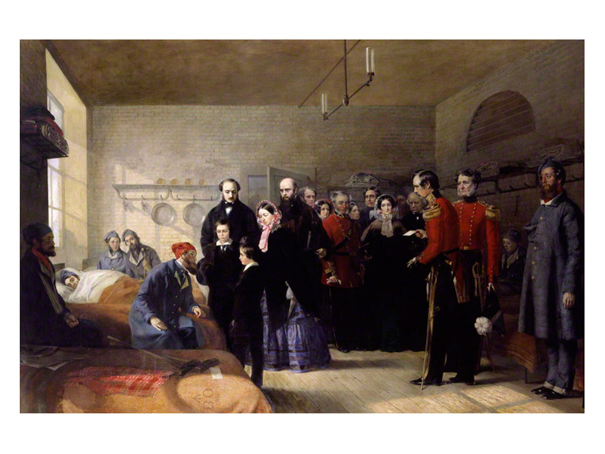 Queen Victoria's First Visit to her Wounded Soldiers, 1855, Jerry Barrett (first exhibited 1856). Click to enlarge.